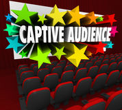 Captive Audience Words Movie Screen Theater Selling Customers Pr. Captive Audience 3d words and stars shooting out of a movie theater screen to illustrate royalty free illustration