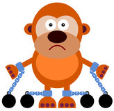 Captive. A cartoon illustration of a gorilla with chains Stock Photography