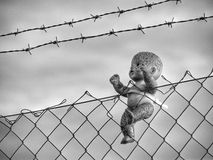 Captive. Doll abandoned and captive in a fence Royalty Free Stock Images