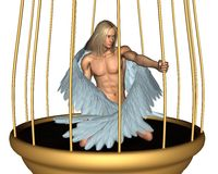Captive Male Angel in Gold Cage. Beautiful male angel imprisoned in a golden cage, 3d digitally rendered illustration Stock Image