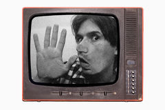 Captive man. In to tv,media concept Royalty Free Stock Image