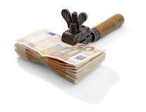 Captive Money. Tightening up on your money. Euro banknotes Royalty Free Stock Photography