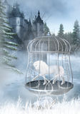 Captive Unicorn. A white Unicorn is locked up in a silver cage. The cage is on a frozen lake, located in front of a castle Stock Photography