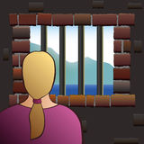Captivity Woman Detainee Prisoner Jail Royalty Free Stock Image