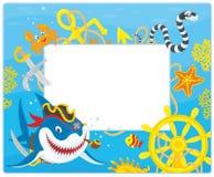 Capítulo con un tiburón del pirata Imagen de archivo libre de regalías