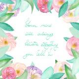 Capítulo la frontera de las hojas púrpuras y rosadas blandas de las flores, del azul y del verde pintadas en la acuarela en un fo Imágenes de archivo libres de regalías