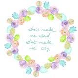 Capítulo la frontera, guirnalda de las hojas púrpuras y rosadas de las flores, del azul y del verde pintadas en la acuarela en un Foto de archivo libre de regalías