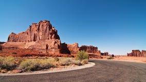 Captura de la tarde de la piedra arenisca en el parque nacional de los arcos Foto de archivo libre de regalías
