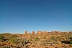 Captura de la tarde de la piedra arenisca en el parque nacional de los arcos Fotografía de archivo