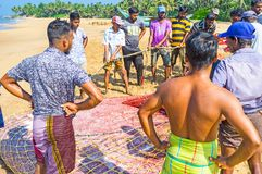 A captura de pescadores de Bentota Fotos de Stock Royalty Free