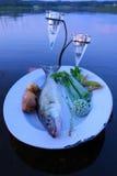 Captura de pescados frescos en una placa con las verduras por encima de la superficie por el lago por la tarde del verano en Finl Imagen de archivo libre de regalías