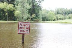 A captura e a liberação assinam dentro uma lagoa Imagem de Stock