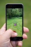 Capturar um Pokemon ao jogar Pokemon vai Imagens de Stock