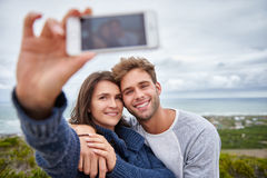 Capture affectueuse de relations dans un selfie Photographie stock