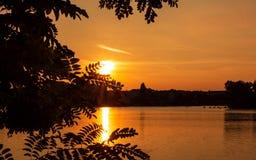 Capture de coucher du soleil de ville photo stock
