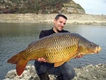 Capture de poissons. Carpe commune image stock