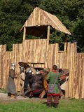 Capture of a fort, Lublin, Poland. The reconstruction of the capture of a medieval fort. The annual Jagiellonian Fair (12th-14st August 2011), Lublin, Poland Stock Photos
