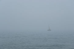Sailing through the fog Royalty Free Stock Images