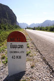 Capture of Milestone on the National Route in Laos. Stock Photos