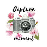 Capture the moment. Watercolor vintage photo camera and magnolia flowers with lettering. Hand drawn photographer logo. Stock Images