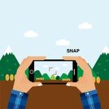 Capture o momento do smartphone no tempo de férias Foto de Stock