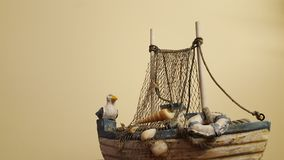 Seagull sitting on the boat. royalty free stock images