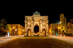 A capture from the Siegestor at night, Munich Stock Photo