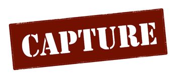 Capture. Stamp with word capture inside,  illustration Stock Photography