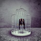 Captured businessman. Alone desperate businessman in a bird cage Stock Images