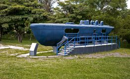 Captured Drug Smuggling Submarine. This is a fiberglass semi-submersible craft captured by the Honduran Navy.  Several of these have been found plying the drug Royalty Free Stock Image
