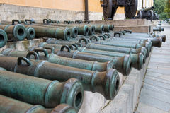 The captured guns of the French army. MOSCOW, RUSSIA - SEPTEMBER 7, 2016: The captured guns of the French army ХVII-ХVIII centuries, the Moscow Kremlin, Moscow Stock Image