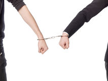 Captured by handcuffs Royalty Free Stock Photography