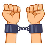 Captured Hands Chained With Handcuff Stock Photography