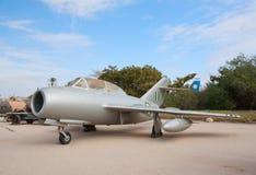 Captured MiG-15UTI. HATZERIM, ISRAEL - JANUARY 02: Egyptian MiG-15UTI fighter jet captured by Israeli forces is displayed in Israeli Air Force Museum on January Stock Image