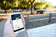 Captured Pikachu in Pokemon GO. SAN JOSE, CALIFORNIA - JULY 13, 2016: A person playing the hit smartphone app, Pokemon Go views a captured Pikachu while Stock Image