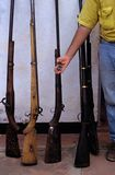 Captured poachers guns in Mozambique. Royalty Free Stock Photo
