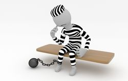 Captured prisoner with prison ball. Is sitting on the bench - 3D model Stock Photo