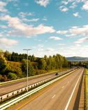 Highway view from up side / Colorful scene of a highway / blue skies and vibrant colors stock images