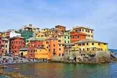 View of Boccadasse under a perfect blue sky, Genoa, Liguria, Italy 2019. stock photos