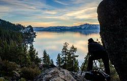 Capturing Beauty. Photographer capturing the beautiful sunset at Lake Tahoe Royalty Free Stock Photo