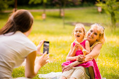 Capturing happy family moments Stock Photography