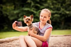 Capturing moments child and dog Stock Images