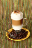 Capuccino coffee with beans Stock Image