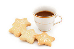 Capuccino coffee in vintage style cup and cookie in coffee break Royalty Free Stock Image