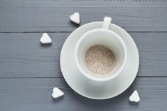Capuccino cup coffee prepared boiling water flood Stock Image