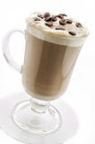 Capuccino in glass cup isolated on white. Path included Stock Photo