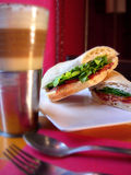 Capuccino with ham sandwich Royalty Free Stock Images