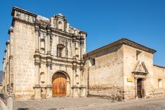 View at the Capuchin church and cloister in Antigua Guatemala. Capuchin church and cloister in the streets of Antigua Guatemala royalty free stock photos
