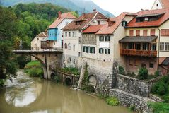 Capuchin's Bridge in Skofja Loka 1 Stock Photography