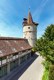 Capuchin Tower of 16th century. Capuchin monastery of St. Anna, town of Zug, Switzerland. View of the Capuchin Tower of 16th century. Capuchin monastery of St royalty free stock images